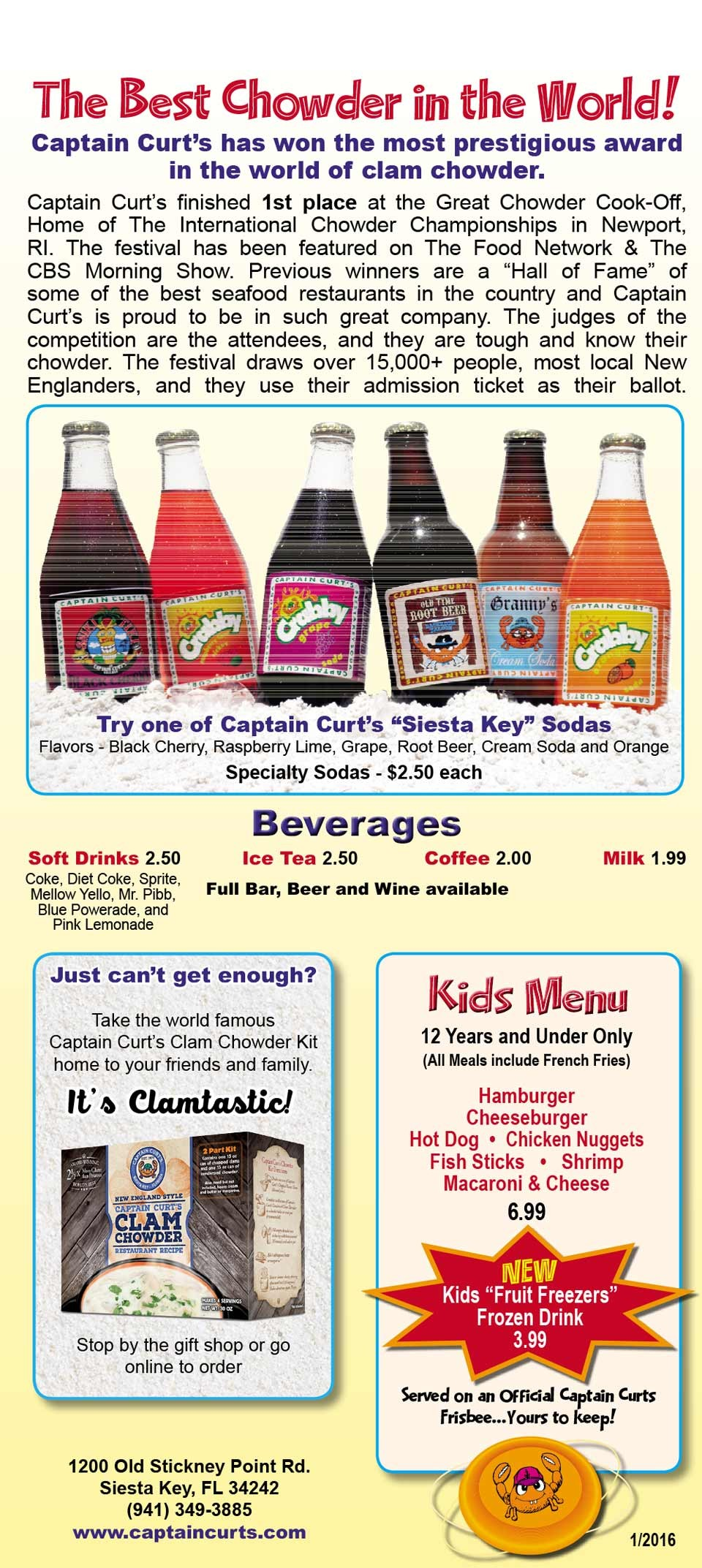 Siesta Key Family restaurant, kids menu