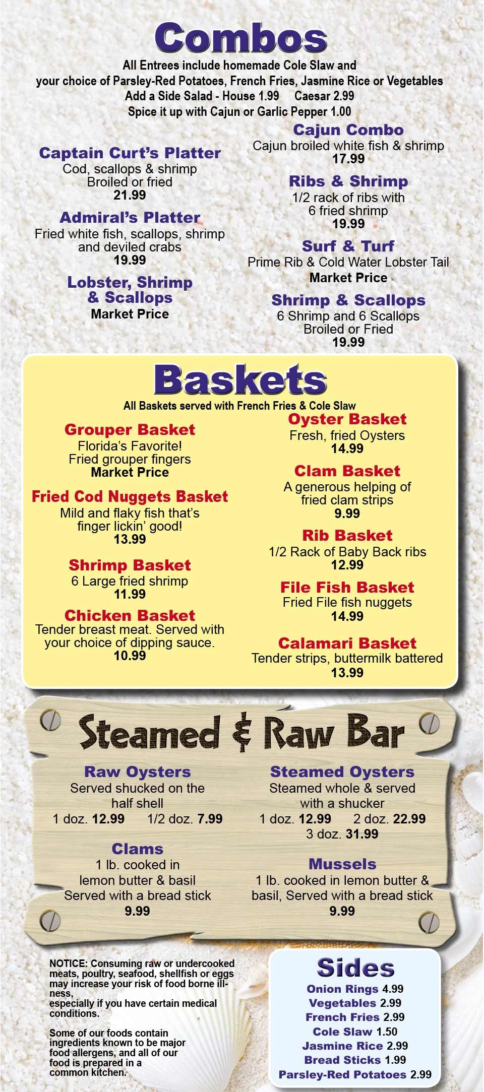 Captain Curt's Siesta Key Seafood and Oyster Bar Menu