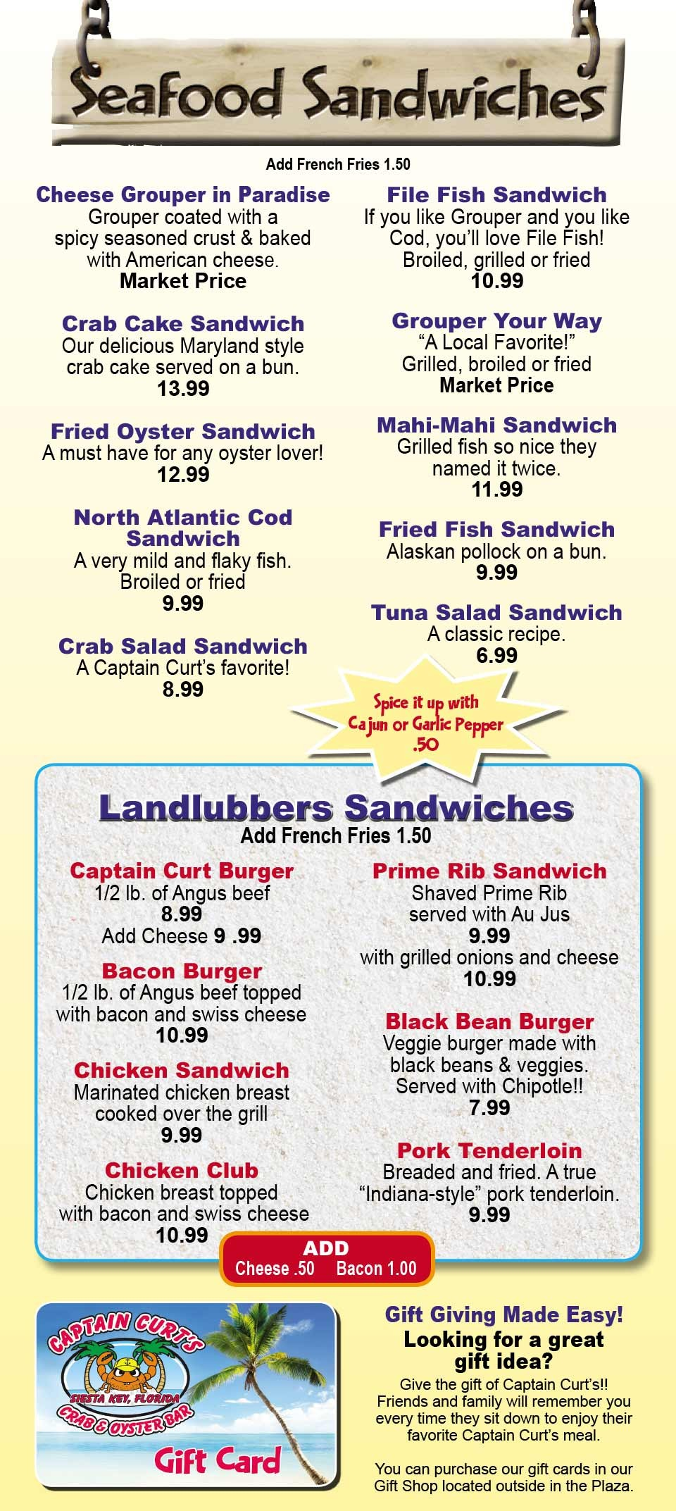 Siesta Key Burgers and Sandwiches Menu by Captain Curt's